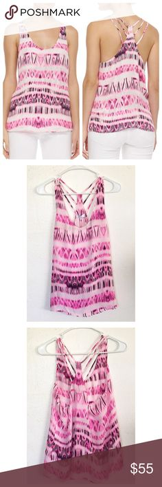 """Parker Ginger Silk Top Parker Ginger Silk Top in the color Ppinkcosmos.  Size M.  Measures about 26"""" in length,and 17"""" across the armpits.  100% Silk 100% Polyester lining.  Scoop neck, sleeveless, Racerback with accent spaghetti straps, all over print, fully lined. Parker Tops Tank Tops"""