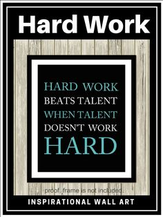 This hard work beats talent when talent doesn't work hard wall art, is the perfect decoration for a teen's...or really, anybody's room. #ad #motivationalquotes