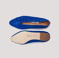 f5b7a4f4dc LEAH ROYAL BLUE VELVET FLATS by Miista Flats, Sandals, Blue Velvet, Hand  Weaving