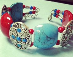 4th of July Colored Bracelet by RainingRustic on Etsy, $10.00