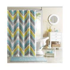 Chevron SHOWER CURTAIN Teal-Blue Grey Bathroom Accessory Bath ZIGZAG Curtains in Home & Garden, Bath, Shower Curtains | eBay