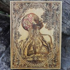 Human Anatomy Art wall decor wood carved wall by EngraversDungeon