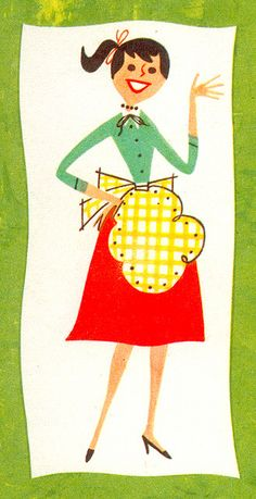 1958, Illustrator Unknown.  Here's a close-up of wifey on the back of this salad cookbook I found at a antique market.