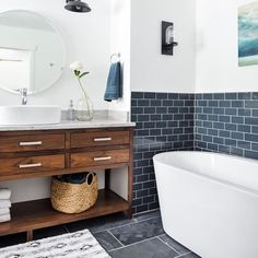 Love the mix of tiles and natural materials in this bathroom shared via our…