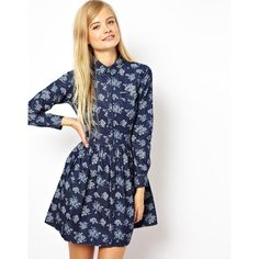 ASOS Shirt Dress In Chambray Floral Print