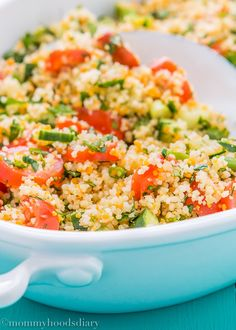 This colorful and full of bright flavor Couscous Tabbouleh Salad is the perfect side dish to any lunch or dinner throughout summer. http://mommyhoodsdiary.com