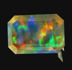 3.20 ct Crystal Mexican Opal RED & GREEN Blue FIRE Emerald cut 13x9 mm Gemstone #JewelsRoughGems