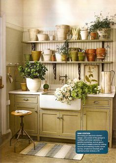Future potting shed idea. Could use an old dresser for the cabinetry.