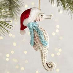seahorse ornie nautical christmas beach christmas ornaments coastal christmas decor tropical christmas