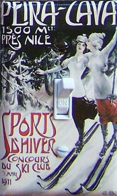 PEIRA CAVA vintage ski poster Switch Plate (single)  - - FREE Shipping - - by VintageSwitchPlates on Etsy
