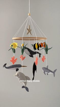 Under water mobile with whale, shark, dolphin, narwhal and coral fish Baby Mädchen Mobile, Whale Mobile, Fish Mobile, Baby Mobiles, Baby Room Decor, Nursery Decor, Mobil Origami, Origami Mobile, Nautical Mobile