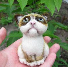 Grumpy Cat Needle Felted by HandmadeByNovember on Etsy