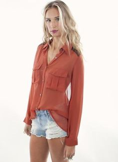 Rust High-Low Long Sleeve Blouse with Open Back,  Top, open back top  button up, Chic