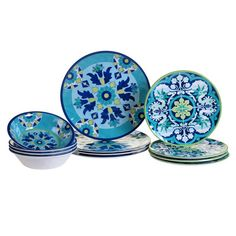 Certified International Talavera by Nancy Green Melamine Dinnerware Set Blue Melamine Dinnerware Sets, Square Dinnerware Set, Tableware, Kitchenware, Outdoor Dinnerware, Casual Dinnerware, White Dinnerware, Mediterranean Design, Dish Sets