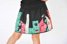 Susan from Living With Punks shows how you can make her Skyline Skirt for little girls. The gathered skirt has a stylized city skyline appliqued around the hem. She mixed fabric prints, but you c… Little Girl Dresses, Little Girls, Girls Dresses, Diy Gifts For Kids, Crafts For Girls, Sewing Patterns For Kids, Sewing Ideas, Sewing Projects, Diy Projects