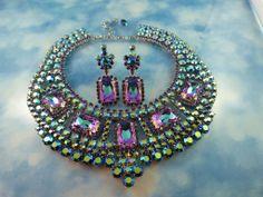 Designer Signed Vintage Austrian AB & Vitrail Crystal Statement Collarette Necklace Set