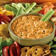 Frank's® Red Hot® Buffalo Chicken Dip.  You can use low fat cream cheese, low fat ranch dressing, low fat mozzarella cheese for less calories.  This is so good.