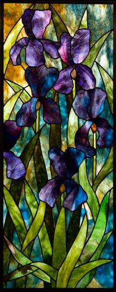 The man's a genius at choosing glass! Moody Iris Un-Framed Stained Glass Panel -- © David Kennedy 2011 Stained Glass Flowers, Stained Glass Designs, Stained Glass Panels, Stained Glass Projects, Stained Glass Patterns, Leaded Glass, Stained Glass Art, Stained Glass Tattoo, Tiffany Glass