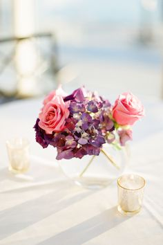 Hydrangeas and Roses Purple Hydrangea Centerpieces, Wedding Centerpieces, Wedding Decorations, Centrepieces, Beautiful Flower Arrangements, Beautiful Flowers, Blooming Flowers, Pretty Pictures, Wedding Blog