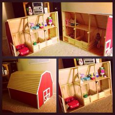 Custom made play horse barn - scaled for larger Breyer horses & barbies. Will take orders for custom barns/houses email  lmholds@gmail.com