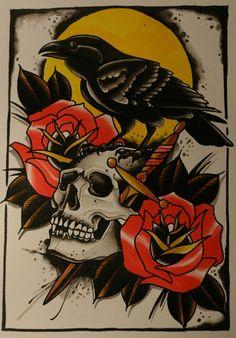 dark looking classic raven & skull