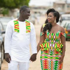 This would be for the anniversary. African Wedding Attire, African Attire, African Wear, African Dress, African Men Fashion, African Fashion Dresses, African Women, Kente Dress, African Shirts