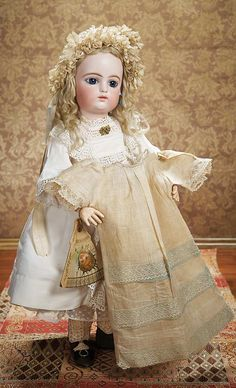 """Wide-Eyed French Bisque Bebe by Gaultier in Beautiful Early Costume,Original Chemise 22"""" (56 cm.)"""