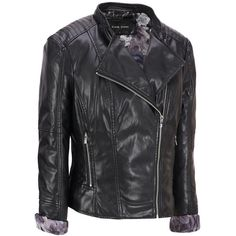 Plus Size Black Rivet Featherweight FauxLeather Cycle Jacket ($110) found on Polyvore featuring plus size and black rivet