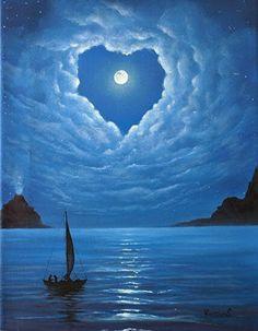 Moon in heart shape clouds