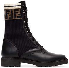half off 11f50 cb21d Fendi black and brown rockoko FF logo leather boots  shopthelook  shop   shoponline