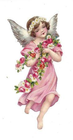 Alte Glanzbilder Oblaten Scraps schöner Engel im rosa Kleid 13 cm: