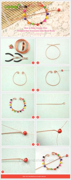 How to Make Vintage Wire Wrapped Hair Accessories with Wood Beads