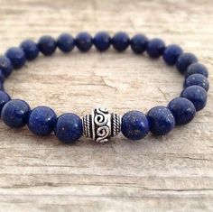 Men's Bracelet Lapis Lazuli Stone & Bali Oval Sterling Silver Bead more here http://www.forthemanilove.com/tesoro-del-sol.html