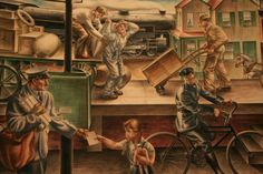 """""Transportation of Mail,"" Alfred D. Crimi, 1937, mural, 7′ x 13'6″, Ariel Rios Federal Building."