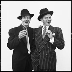 Marlon Brando and Frank Sinatra in 'Guys and Dolls', 1955. Photo by Richard Avedon