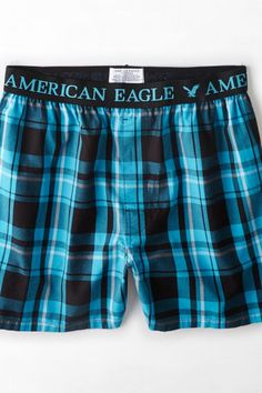 AEO Men's Plaid Boxer (Turquoise) from American Eagle Outfitters