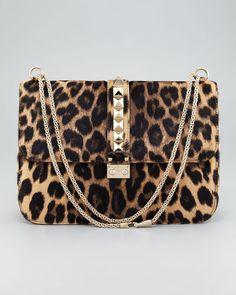 Valentino Animal Leopard Print Calf Hair Shoulder Bag