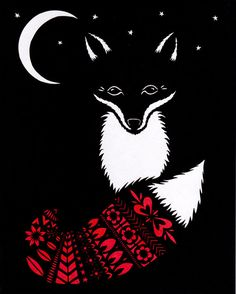 Fox In Moonlight  Cut Paper Art Print van ruralpearl op Etsy, $23.00