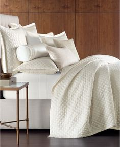 Hotel Collection Luxe Border Count Quilted Full/Queen Coverlet, Created for Macy's - Ivory/Cream Ivory Bedding, Textured Bedding, Hotel Collection Bedding, Mattress In A Box, Smart Furniture, Quilted Bedspreads, Mattress Brands, Queen Duvet, My New Room