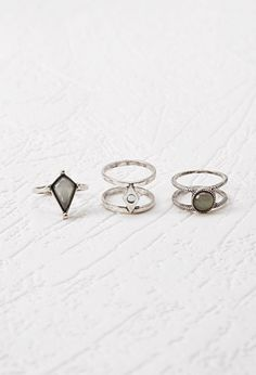 New fashion accessories jewelry vintage silver opal stone finger ring set for women girl nice gift R1621