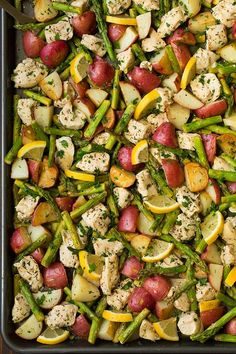 Lemon Chicken Asparagus and Potato Sheet Pan Dinner | Cooking Classy