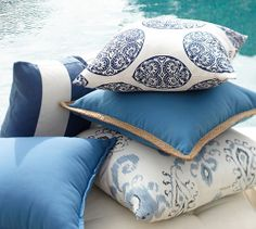 Sea Blue Mixer Outdoor Pillow Collection | Pottery Barn is beautiful and bright for outside.