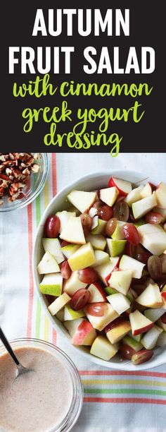 Crisp apples, sweet pears, and red grapes tossed with a sweet cinnamon Greek yogurt dressing and sprinkled with crunchy pecans. Dairy-free/vegan option. #fallfruitsalad #easy #healthy #fall #applesaladwithyogurt