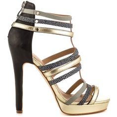 Nicole Miller Women's Tahiti - Gold Black (210 AUD) ❤ liked on Polyvore featuring shoes, sandals, high heel sandals, platform sandals, black shoes, sports shoes and high heel platform sandals