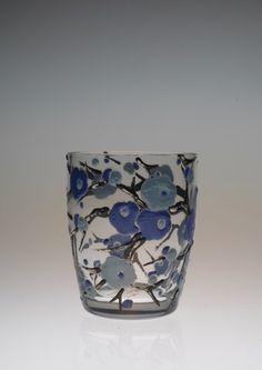 """いつも見つけたら""""MUST BUY""""のデルヴォーのショットグラス。 見て判りますがブルーです。 丁度、今、梅が見頃ですね。青い梅はないと思..."""