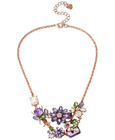 Betsey Johnson Rose Gold-Tone Crystal Flower and Bug Frontal Necklace