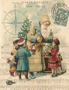 Paper Christmas Santa with Children Print