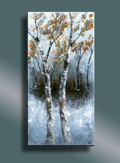 Original Abstract Painting Birch Trees in a Forest by EditVorosArt