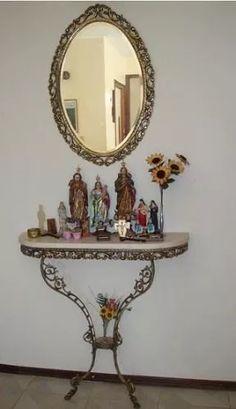 aparador console em ferro fundido com espelho em cristal