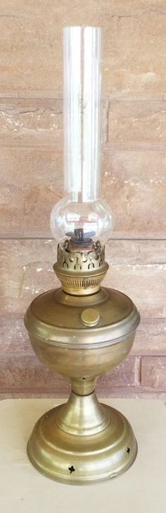 Antique Brass Kerosine Lamp with Original Stamped Wavy Glass Flute $45